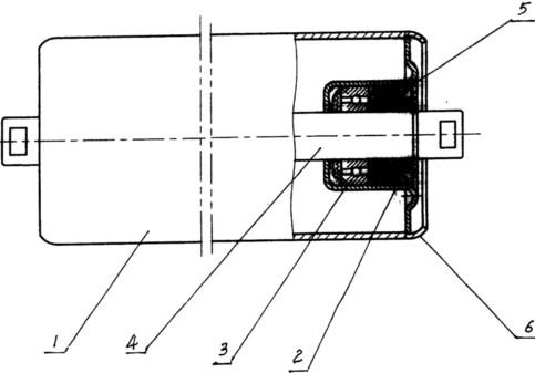 橡胶带防割圆弧形托辊结构图