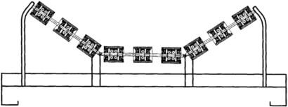 橡胶带专用托辊组整体图